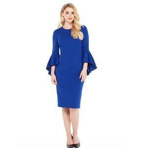 COPY - Sasha Midi Blue Sheath Dress Bell Sleeves